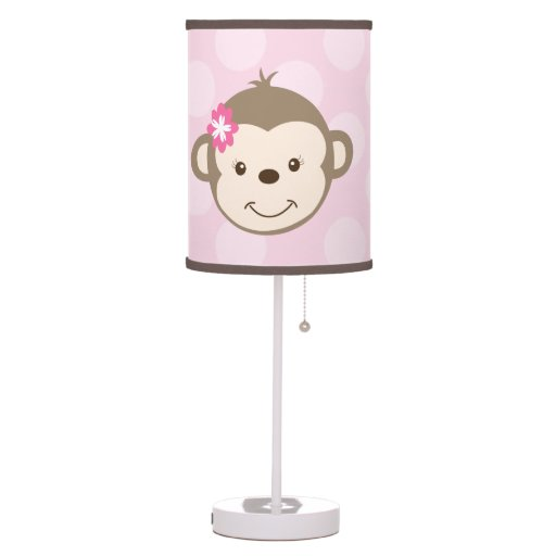 Mod Girl Monkey Nursery Lamp (Pink)