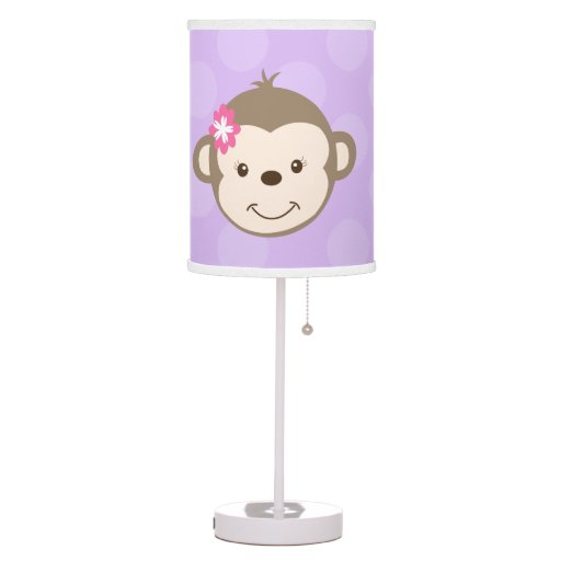 Mod Girl Monkey Nursery Lamp (Purple)