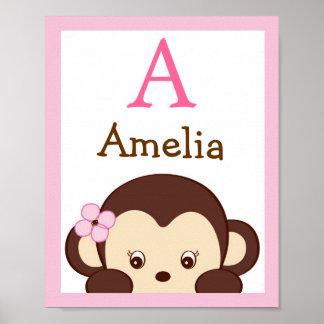 Mod Girl Monkey Nursery Wall Art Name Print