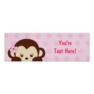 Mod Girl Monkey Personalized Banner Poster