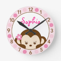 Mod Girl Monkey Personalized Nursery Wall Clock