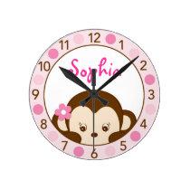 Mod Girl Monkey Personalized Nursery Wall Clock