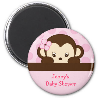 Mod Girl Monkey Personalized Party Favor Magnets