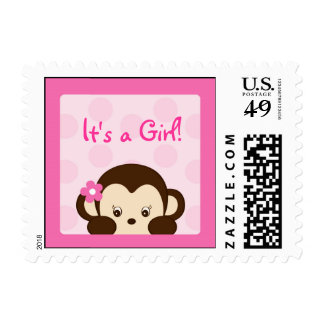 Mod Girl Monkey Personalized Postage Stamps