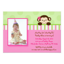 Mod Girl Monkey Photo Birthday Invitations