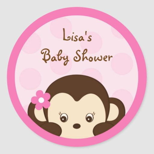 Mod Girl Monkey Pink Envelope Seals Stickers
