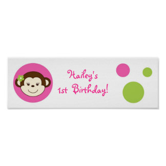 Mod Girl Monkey Pink Green Baby Shower Banner Sign
