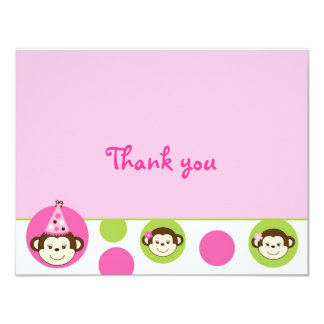 Mod Girl Monkey Pink Green Thank You Note Cards