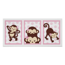 Mod Girl Monkey Polka Dot Nursery Wall Art Print