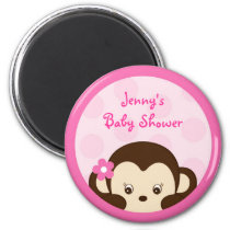 Mod Girl Monkey Polka Dot Party Favor Magnets