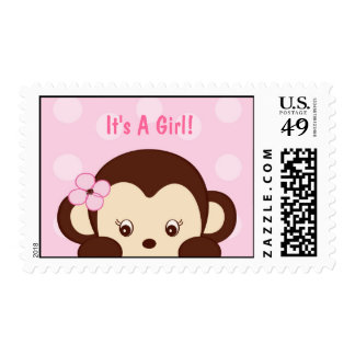 Mod Girl Monkey Postage Stamp, It's A Girl!