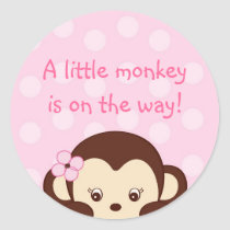 Mod Girl Monkey Shower Stickers Envelope Seals
