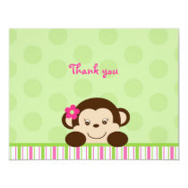 Mod Girl Monkey Thank You Note Cards