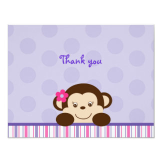 """Mod Girl Monkey Thank You Note Cards 4.25"""" X 5.5"""" Invitation Card"""