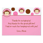 Mod Girl Monkey Thank You Note Cards Personalized Announcements