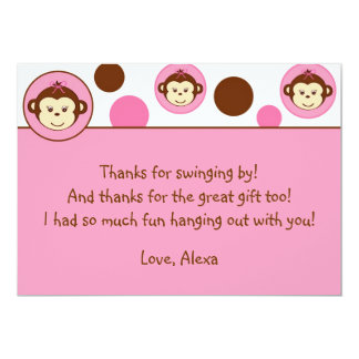 """Mod Girl Monkey Thank You Note Cards 5"""" X 7"""" Invitation Card"""