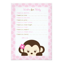 Mod Girl Monkey Wishes for Baby Advice Card