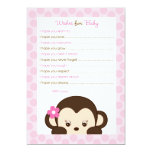 Mod Girl Monkey Wishes for Baby Advice Card Personalized Announcements