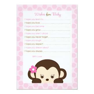 """Mod Girl Monkey Wishes for Baby Advice Card 5"""" X 7"""" Invitation Card"""