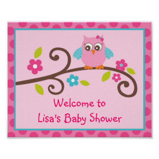 Mod Girl Owl Baby Shower or Birthday Party Sign Poster