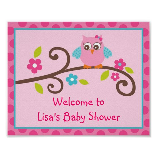 Mod Girl Owl Baby Shower or Birthday Party Sign Print