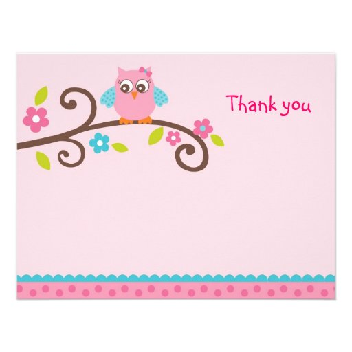 Mod Girl Owl Flat Thank You Note Cards