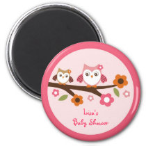 Mod Girl Owl Forest Party Favor Magnets