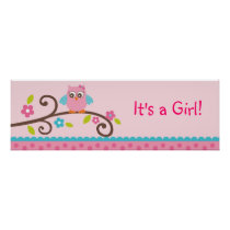 Mod Girl Owl Personalized Banner Sign Poster