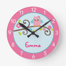 Mod Girl Owl Personalized Nursery Wall Clock