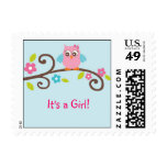 Mod Girl Owl Personalized Postage Stamps
