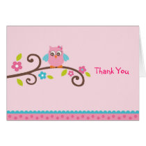 Mod Girl Owl Thank You Note Cards