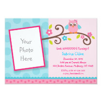 Mod Girl Owl WHOOO Photo Birthday Invitations