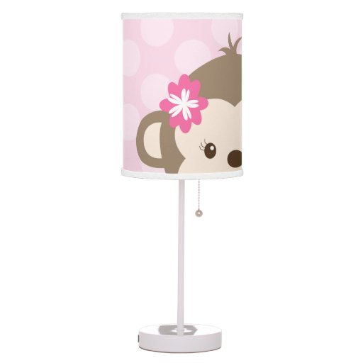 Mod Girl Peeking Monkey Nursery Lamp (Pink)