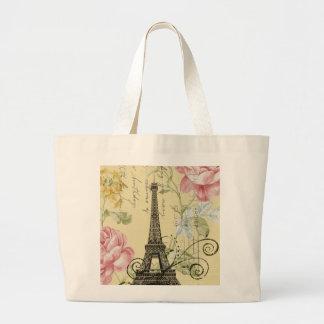 Mod Girly  floral Vintage Paris Eiffel Tower Large Tote Bag