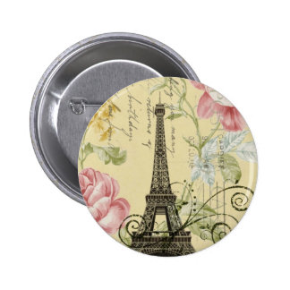 Mod Girly  floral Vintage Paris Eiffel Tower Pinback Button
