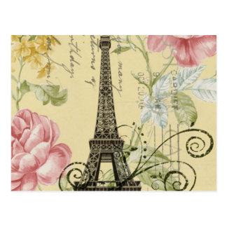 Mod Girly  floral Vintage Paris Eiffel Tower Postcard
