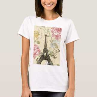 Mod Girly  floral Vintage Paris Eiffel Tower T-Shirt