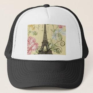 Mod Girly  floral Vintage Paris Eiffel Tower Trucker Hat