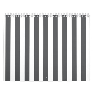 Mod Gray Stripes Pattern Wall Calendar