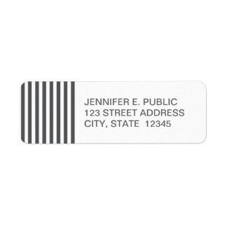 Mod Gray Stripes Pattern Return Address Label