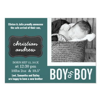 Mod Green and Chalkboard New Baby Birth Card