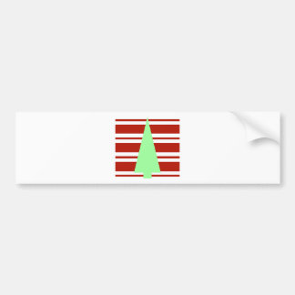 Mod Green and Red Christmas Tree Bumper Sticker