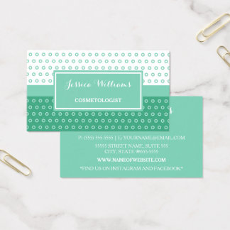 Mod Green and White Polka Dots Cosmetologist Business Card