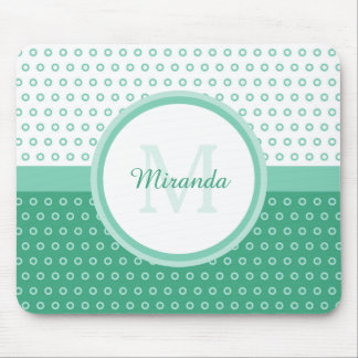 Mod Green and White Polka Dots Monogram With Name Mouse Pad