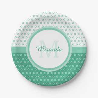 Mod Green and White Polka Dots Monogram With Name Paper Plate