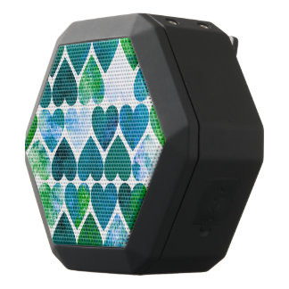 Mod Green & Blue Grungy Hearts Design Black Bluetooth Speaker
