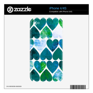 Mod Green & Blue Grungy Hearts Design iPhone 4 Decals