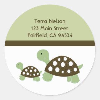 Mod Green Dot Turtles Address Label Sticker