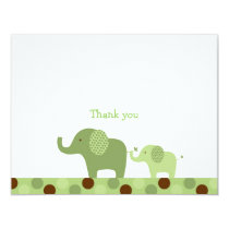 Mod Green Elephant Flat Thank You Note Cards
