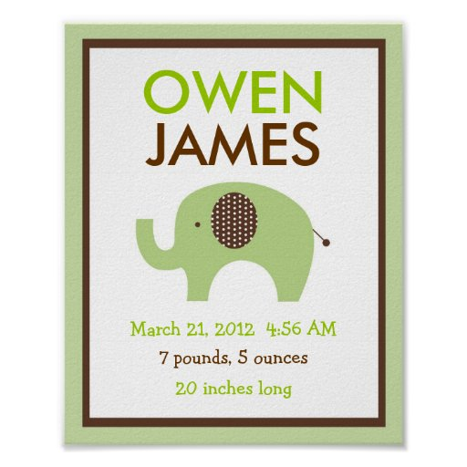Mod Green Elephant Nursery Wall Art Birth Print